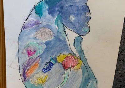 Hiena azul realizado en acuarela