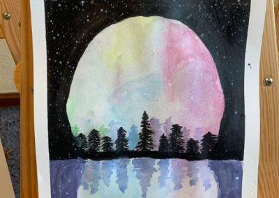 Luna llena realizada en acuarela