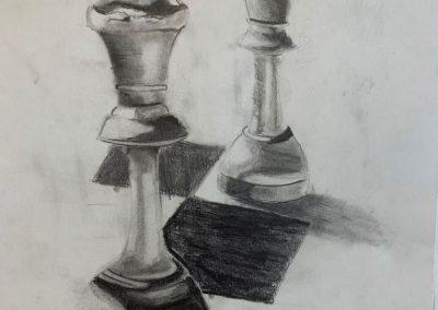 Chess realizado en carboncillo